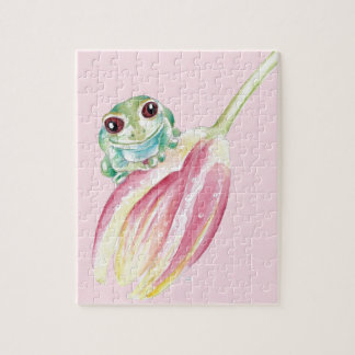 Cute Frog On Pink Jigsaw Puzzle