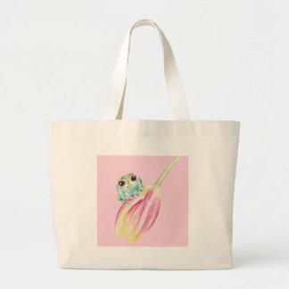 Cute Frog On Pink Large Tote Bag