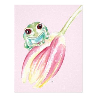 Cute Frog On Pink Letterhead