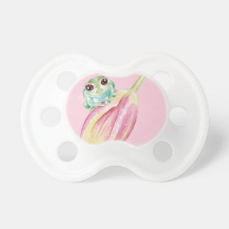 Cute Frog On Pink Pacifier