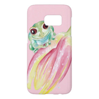 Cute Frog On Pink Samsung Galaxy S7 Case