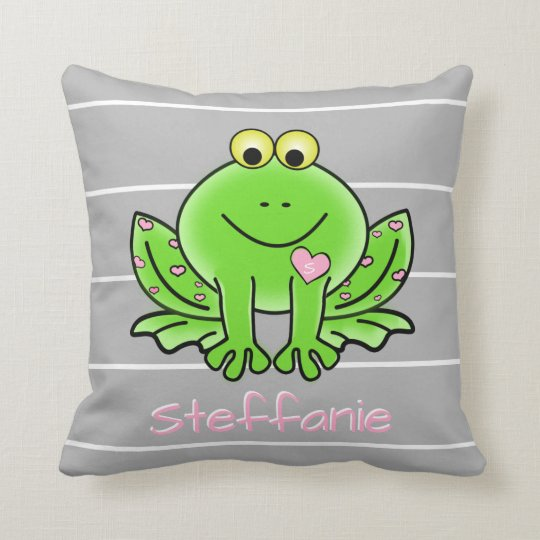 Cute Frog, Personalized w Name & Initial Throw Pillow