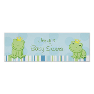Cute Frog Prince Baby Shower Banner Sign Poster