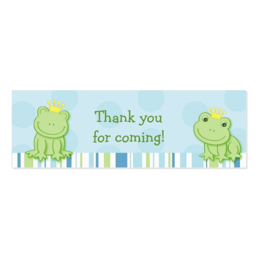 Cute Frog Prince Baby Shower Favour Gift Tags Pack Of Skinny Business Cards