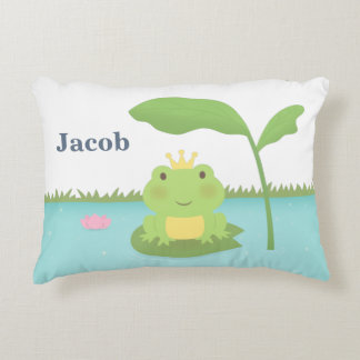 Cute Frog Prince For Boys Room Decor Pillow Accent Pillow