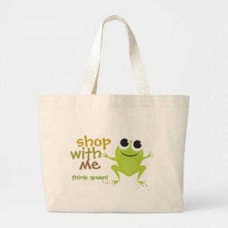 Cute Frog Reusable Shopping Bag Navy