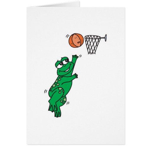 cute frog shooting basket greeting cards
