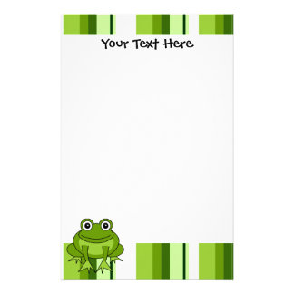 Cute Frog Striped Stationery