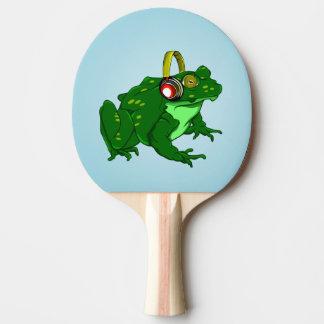Cute Frog Wearing Headphone Ping-Pong Paddle