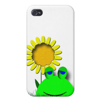 Cute Frog with Sunflower iPhone 4 Covers