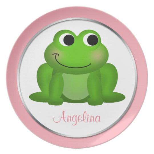 "Cute Froggy - Personalized 10"" Pink Plate"