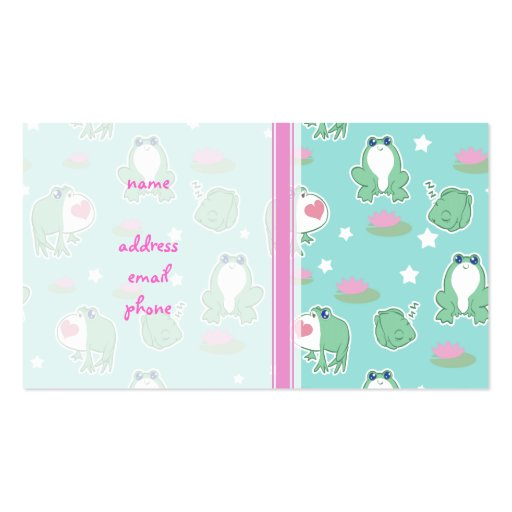 Cute Frogs and Lily Pads Pattern Business Card Templates
