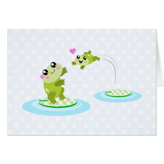 Cute frogs - kawaii mom and baby frog cartoon card