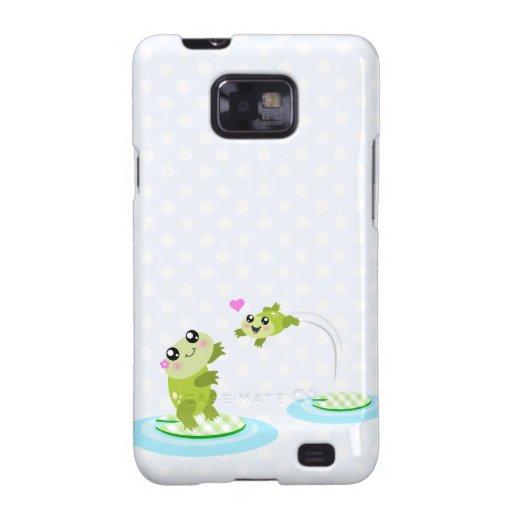Cute frogs - kawaii mom and baby frog cartoon samsung galaxy SII cover