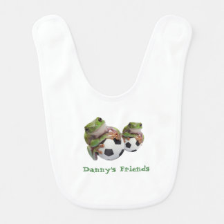 Cute Frogs on Soccer Balls Baby Bib