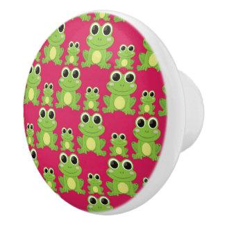 Cute frogs pattern ceramic knob