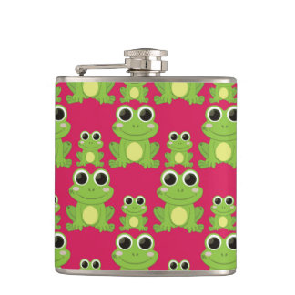 Cute frogs pattern hip flask