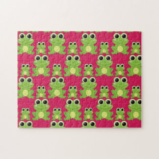 Cute frogs pattern jigsaw puzzle
