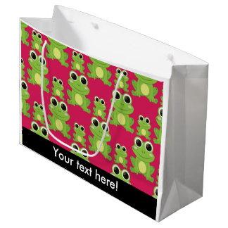 Cute frogs pattern large gift bag