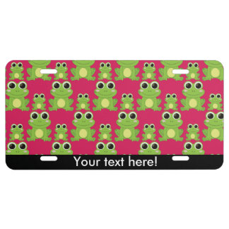 Cute frogs pattern license plate