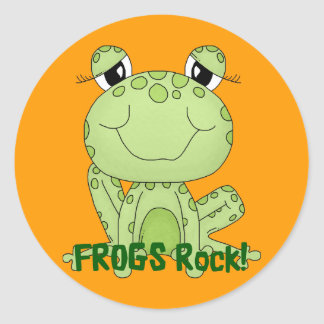 Cute Frogs Rock Love Frog Products Round Stickers