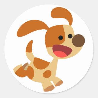 Cute Frolicking Cartoon Dog  Sticker