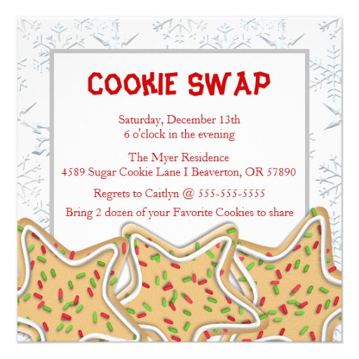 Cute Frosted Sugar Cookie Exchange Holiday Invite