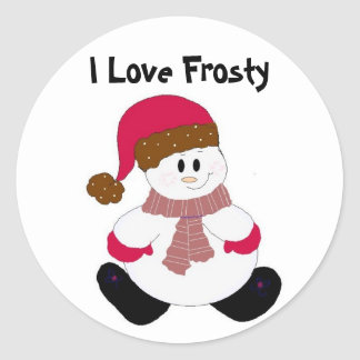 Cute Frosty Classic Round Sticker