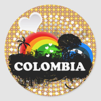 Cute Fruity Colombia Classic Round Sticker