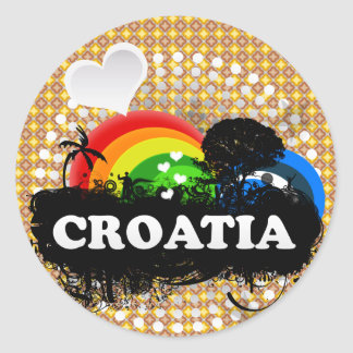 Cute Fruity Croatia Classic Round Sticker