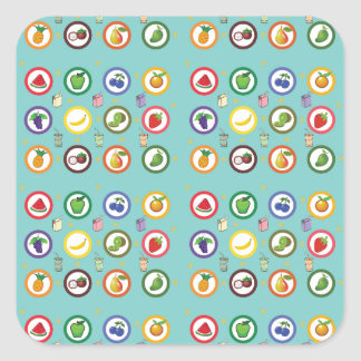 Cute Fruity Pattern Square Sticker