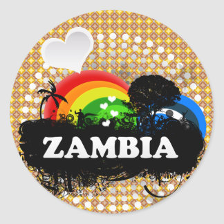 Cute Fruity Zambia Classic Round Sticker