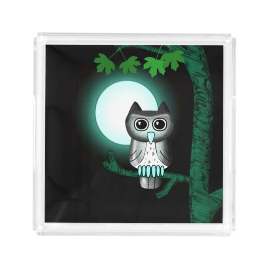 Cute Full Moon Owl Acrylic Tray