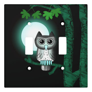 Cute Full Moon Owl Light Switch Cover