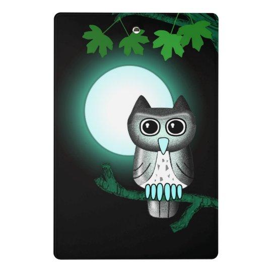 Cute Full Moon Owl Mini Clipboard