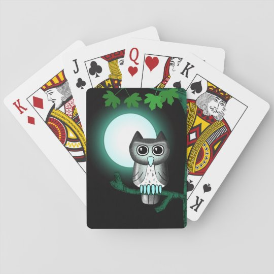 Cute Full Moon Owl Playing Cards