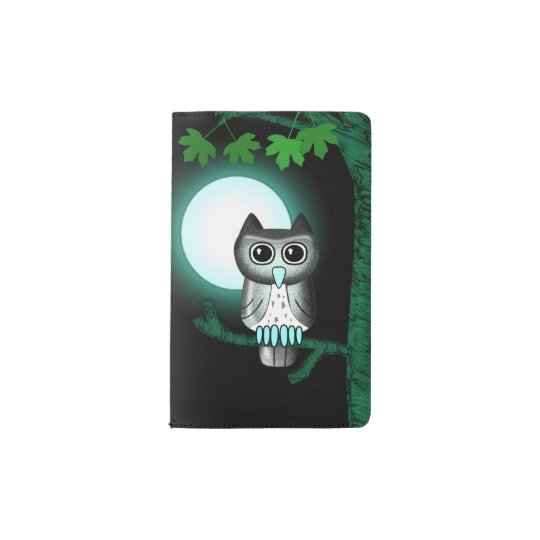 Cute Full Moon Owl Pocket Moleskine Notebook