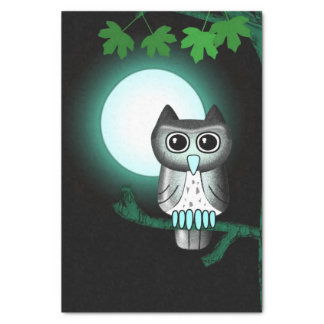 Cute Full Moon Owl Tissue Paper