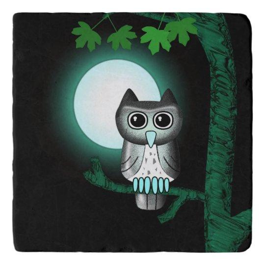 Cute Full Moon Owl Trivet