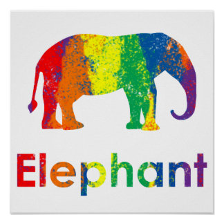 Cute, Fun and Colorful Abstract Rainbow Elephant Poster
