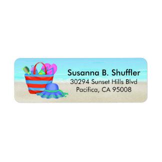 Cute Fun Beach Bag Tote Hat Return Address Label