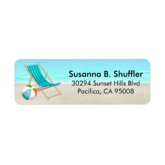 Cute Fun Beach Chair Ball Return Address Label