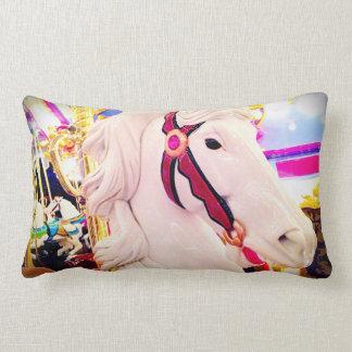 Cute, fun carnival carousel horse close-up photo lumbar pillow