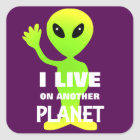 Cute Fun Cartoon Alien In Outer Space Square Sticker
