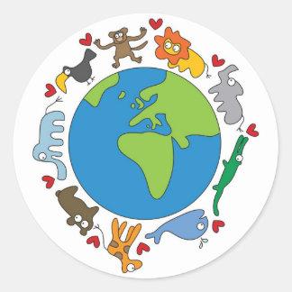Cute Fun Cartoon Animals Of The World Earth Classic Round Sticker