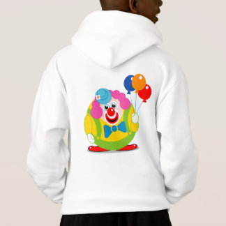 Cute fun cartoon circus clown with a big red nose,