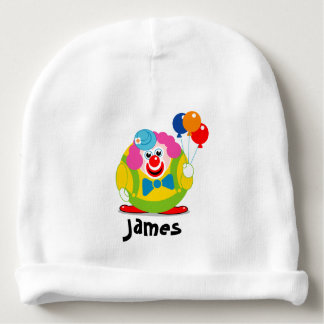 Cute fun cartoon circus clown with a big red nose, baby beanie