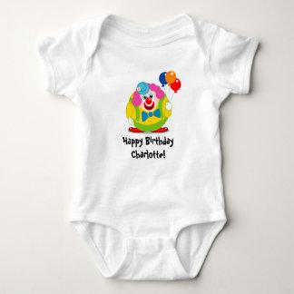 Cute fun cartoon circus clown with a big red nose, baby bodysuit