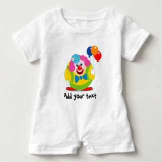 Cute fun cartoon circus clown with a big red nose, baby romper