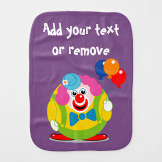 Cute fun cartoon circus clown with a big red nose, burp cloth